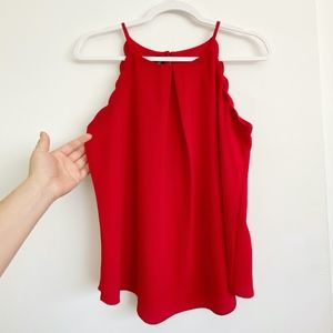 Red Scalloped Tank Top